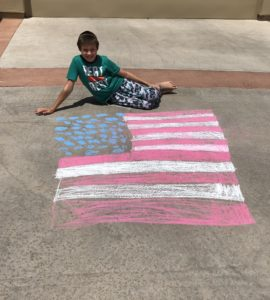 My son learning to express his appreciation of freedom